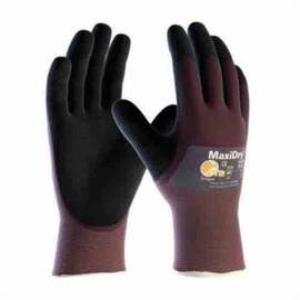 ATG® MAXIDRY® 56-425/S ULTRA LIGHTWEIGHT GENERAL PURPOSE GLOVES, COATED, S, NYLON/LYCRA® PALM, LYCRA®/NYLON, BLACK/PURPLE, CONTINUOUS KNIT WRIST CUFF, MICROFOAM NITRILE COATING, RESISTS: ABRASION, CUT, PUNCTURE AND TEAR, NYLON/LYCRA® LINING, SEAMLESS