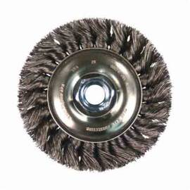 Pferd 81651 Single Row Standard Flag Wheel Brush, 3 In Dia X 7/16 In W, 1/2 To 3/8 In, 0.014 In Standard/Twist Knot Wire