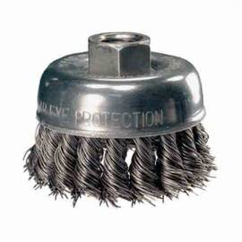 Pferd 82220 External Nut Heavy Duty Mini Cup Brush, 2-3/4 In Dia, 5/8-11, 0.02 In Carbon Steel Standard/Twist Knot Wire