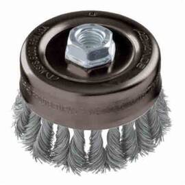 Pferd 82330 External Nut Heavy Duty Minigrinder Cup Brush, 2-3/4 In Dia, 5/8-11, 0.02 In Stainless Steel Standard/Twist Knot Wire