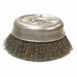 Anderson Products 10215 Uc Series Light Duty Cup Brush, 4 In Dia, 5/8-11, 0.02 In Steel Crimped Wire