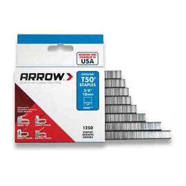 Arrow™ Staples, Heavy Duty Wide, Series: T50®, 3/8 in Crown Width, 9/16 in Leg Length, Chisel Point, Steel, Galvanized, Gray