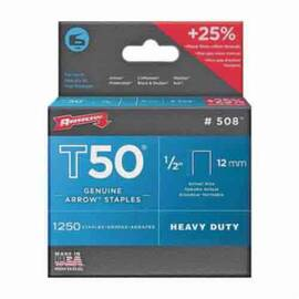 Arrow™ 50824 T50® Heavy Duty Staples, 1/2 In L Leg, 3/8 In W Crown, Steel