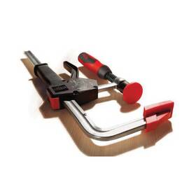 Bessey® One Hand Clamp, Heavy Duty, Series: PG Series, 12 in Clamping, 4 in Throat Depth, 12 in Spreading, 1000 lb Clamping, Ergonomic Handle, Steel Bar, Black/Red