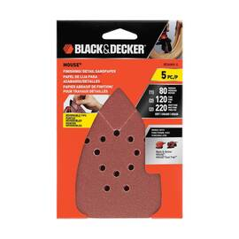 Black+Decker® MOUSE® Sandpaper Sheet, Hook and Loop, 6-11/16 in Length, 4-1/4 in Width, Aluminum Oxide Abrasive, Paper Backing, Applicable Materials: Paint and Varnish