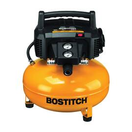Bostitch® BTFP02012 Oil Free Portable Electric Air Compressor, 3.7 SCFM At 40 psi, 0.8 Hp, 150 psi, Vertical/Pancake 6 gal Tank