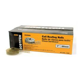 Bostitch® Cr2Dgal Cr Series General Purpose Roofing Nail, 0.12 In Dia, 1 In L, 15 Ga, Galvanized, Steel