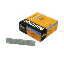 Bostitch® Staples, Narrow Crown, Series: SL Series, 5/16 in Crown Width, 1 in Leg Length, 18 ga Wire, Chisel Point, Smooth Shank, Adhesive Collation, Steel, Galvanized