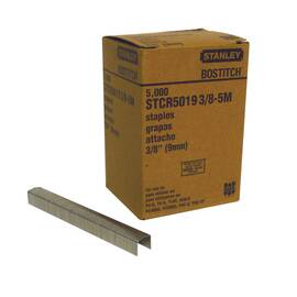 Bostitch® PowerCrown™ Staples, Heavy Duty, Series: STCR 2619, 7/16 in Crown Width, 3/8 in Leg Length, 0.05 x 0.019 in Dia Wire, Chisel Point, Adhesive Strip Collation, High Carbon Steel, Galvanized, Silver