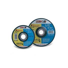 CGW® Quickie Cut™ Cut-Off Wheel, Thin, 4-1/2 in Wheel Diameter, 0.045 in Wheel Thickness, 7/8 in Center Hole, 46 Grit, Medium Grade, Aluminum Oxide Abrasive, 13300 rpm Maximum, Applicable Materials: Metal and Stainless Steel, Wheel Type Number: Type 1,