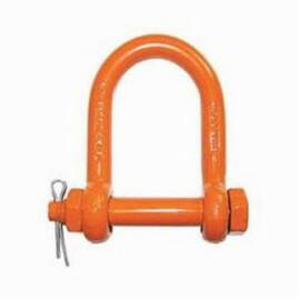 CM® M9152P Long Reach Chain Shackle, 10000 Lb Load, 3/4 In, 0.88 In Bolt/Nut/Cotter Pin, Orange Powder Coated