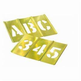 C.H.Hanson® 10067 45-Piece Interlocking Letter And Number Stencil Set, A To Z, 0 To 9, 1-Beginner, 1-Plain Ender, 1-Period Ender, 2-Spacers, 1-Comma, 1-Dash And 1-Period, 3/4 In H, Brass, Gold