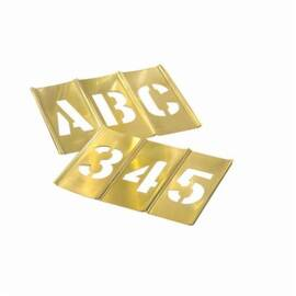 C.H.Hanson® 10108 77-Piece Interlocking Letter And Number Stencil Set, 1 In H, Brass, Gold