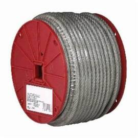 Campbell® Coated Cable, High Strength, 1/4 in Cable, 200 ft Length, 7 x 19 Strand, 1400 lb Load, 6 in Spool Width, Galvanized Steel