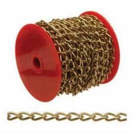 Campbell® Chain, Twisted Link, #70 Trade, 82 ft Length, 5 lb Load, Metal, Brass Finish