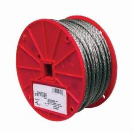 Campbell® Cable, High Strength, 3/32 in Cable, 250 ft Length, 7 x 7 Strand, 184 lb Load, 3-1/2 in Spool Width, 304 Stainless Steel