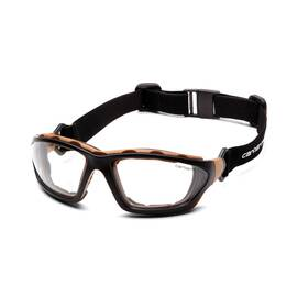 CARHARTT® CARTHAGE® CHB410DTP SAFETY EYEWEAR, ANTI-FOG CLEAR LENS, FULL FRAMED/WRAPAROUND BLACK/TAN NYLON FRAME, POLYCARBONATE LENS, SPECIFICATIONS MET: ANSI Z87.1, CAN/CSA Z94.3-15