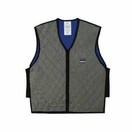 CHILL-ITS® 12543 6665 COOLING VEST, M, GRAY, NYLON/POLYMER-EMBEDDED FABRIC, EVAPORATIVE/SOAK IN COLD WATER COOLING, ZIPPER FRONT CLOSURE