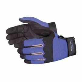 CLUTCH GEAR® MXBU/L ERGONOMIC LIGHTWEIGHT GENERAL PURPOSE GLOVES, MECHANICS, L, EXO-TEKT MICRO-SUEDE LEATHER PALM, EXO-TEKT MICRO-SUEDE LEATHER/NEOPRENE/NYLON, BLACK/BLUE, RESISTS: ABRASION AND PUNCTURE