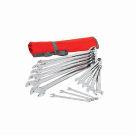 Crescent® Combination Wrench Set, Imperial System of Measurement, 3/8 to 1-1/4 in Size, 14 Piece, Specifications: 12 Point, Box End Drive, Chrome Vanadium Alloy Steel, Polished Chrome/Nickel Plated/Mirror-Polished Finish