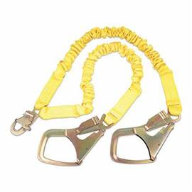 3M DBI-SALA Fall Protection Shock Absorbing Lanyard, Elastic Tie-Off Variable, Series: ShockWave™2, 130 to 310 lb Load, 6 ft Length, Polyester Webbing Line, Zinc Plated Steel Hardware, 2 Leg, Yellow, Rebar Hook Anchorage Connection, Snap Hook Harness Co