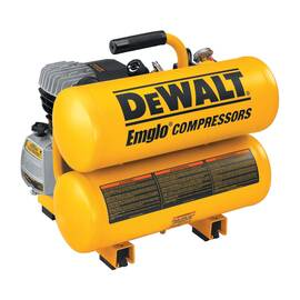 DeWALT® D55153 Continuous Hand Carry Oil Lubricated Electric Air Compressor, 4.6 BSPP, 2 Hp, 125 psi, Twin Stack 4 gal Tank