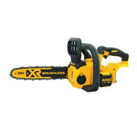 DeWALT® 20V MAX* Cordless Electric Chain Saw, Compact, Bare Tool, Series: XR®, 0.043 ga, 12 in, 3/8 in Pitch, 4200 rpm, Automatic, Lithium-Ion Battery Type, 5 Ah Battery, Trigger Switch Control, Black/Yellow
