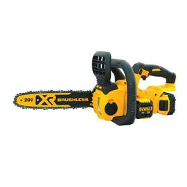 DeWALT® 20V MAX* Cordless Electric Chain Saw Kit, Brushless Compact, Kit, Series: XR®, 0.043 ga, 12 in, 3/8 in Pitch, 4200 rpm, Automatic, Lithium-Ion Battery Type, 5 Ah Battery, Trigger Switch Control, Black/Yellow