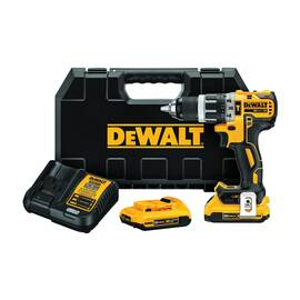 DeWALT® 20V MAX* Cordless Hammer Drill Kit, Compact Lightweight, Kit, Series: XR™, 1/2 in Chuck, Keyless/Metal Ratcheting Chuck, 34000 bpm, 0 to 550/0 to 2000 rpm No-Load Speed, 2 Speed, 20 VDC, Lithium-Ion Battery Type, 2 Ah Battery, Battery Included,
