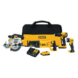 DeWALT® 20V MAX* Cordless Combination Kit, 4-Tool, Drill, Reciprocating Saw, Circular Saw and Worklight, 20 VDC, Lithium-Ion, 2 Ah Battery, Contractor Bag Package Type, Black/Yellow