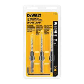 DeWalt® Rapid Load® DW2535 Quick-Change Countersink Set, 3 Pieces, Hss, Bright
