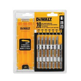 DeWALT® Jig Saw Blade Set, 10-Piece, Regular/Fast Cut Teeth, T-Shank, Metal and Wood Applicable Materials, High Carbon Steel