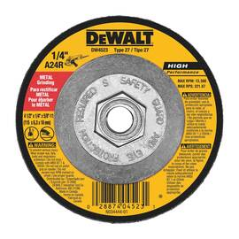Black+Decker® High Performance™ DW4523 Depressed Center Wheel, 4-1/2 In Dia X 1/4 In Thk, 5/8-11, A24R Grit, Aluminum Oxide Abrasive