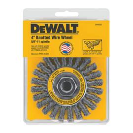 DeWalt® Hp™ Dw4930 Wire Wheel Brush, 4 In Dia X 1/2 In W, 5/8-11, 0.02 In Cable Twist/Knot Wire