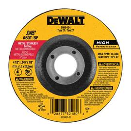 Black+Decker® High Performance™ DW8434 Depressed Center Wheel, 4-1/2 In Dia X 1/8 In Thk, 7/8 In, A24R Grit, Aluminum Oxide Abrasive