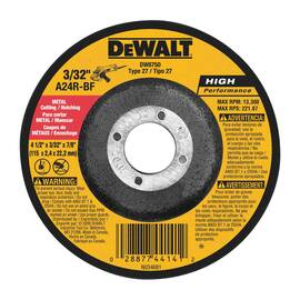 Black+Decker® High Performance™ DW8750 Depressed Center Wheel, 4-1/2 In Dia X 3/32 In Thk, 7/8 In, A24R Grit, Aluminum Oxide Abrasive