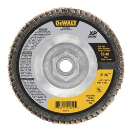 DeWALT® XP™ Coated Abrasive Flap Disc, Extended Performance, 4-1/2 in Disc Dia, 5/8-11 Center Hole Thread Size, 40 Grit, Coarse Grade, Ceramic Abrasive, Type 27 Disc, Cloth Backing, 8700 rpm Maximum, Silver