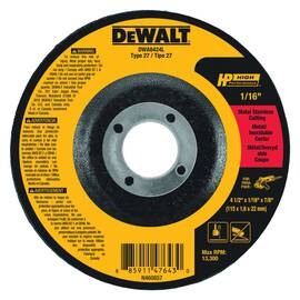 DeWALT® Cut-Off Wheel, Type 27, Series: HP™, 4-1/2 in Wheel Dia, 7/8 in Center Hole, Aluminum Oxide Abrasive, 13300 rpm Maximum, Applicable Materials: Ferrous Metal