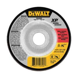 DeWALT® XP™ Depressed Center Wheel, 4-1/2 in Wheel Dia, 1/8 in Wheel Thickness, 7/8 in Center Hole, Eyelet Connector, SG24N Grit, Extra Coarse Grade, Ceramic Abrasive, Wheel Type Number: Type 27, 13300 rpm Maximum, Resin Bond, Applicable Materials: Met