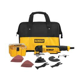 DeWALT® Oscillating Multi-Tool Kit, Kit Tool/Kit, 120 VAC, 3 A, 22000 opm, Plastic Housing, In-Line, 8 ft Specialty Cord, Dual Grip Variable Speed Trigger Control, 13 in L