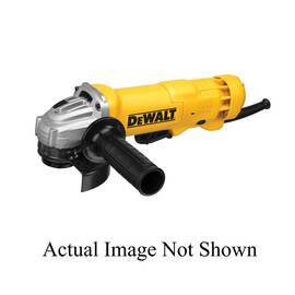 DeWALT® Electric Angle Grinder Kit, Low Profile Small, Tool/Kit: Kit, 4-1/2 in Wheel Dia, 5/8-11 UNC, 11000 rpm, 1.8 hp, 120 VAC, 11 A, Quick-Change™ For Wheel, Plastic Housing, 2-Position Side, Black/Yellow, Paddle Switch Control, Dust Management: Yes