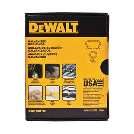 DeWALT® Hog Ring, Crowned, For Use With: P7DW Hog Ring Plier, Specifications: 16 ga, Round Point, Galvanized Finish, 11/16 in L x 1/16 in W Dimensions