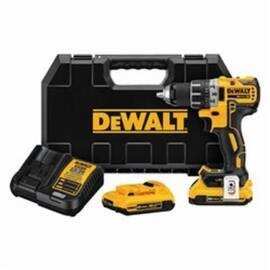 DeWalt® 20V Max* DCD791D2 Xr® Compact Lightweight Cordless Drill/Driver Kit, 1/2 In Chuck, 20 Vdc, 0 To 550/0 To 2000 RPM No-Load, 6.9 In OAL, Integrated/Lithium-Ion Battery