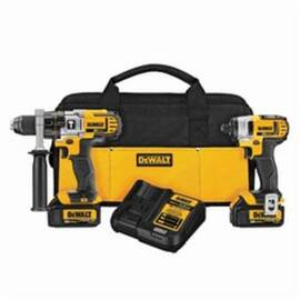 DeWalt® DCK290L2 Cordless Combination Kit, Tools: Hammer Drill, Impact Driver, 20 Vdc, 3 Ah Lithium-Ion, 1/2 In Chuck