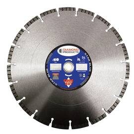 Diamond Products Diamond Blade, High Performance Segmented Turbo, 4-1/2 in Diameter Blade, 0.08 in Blade Cutting Width, 7/8 in Arbor/Shank, Dry Cutting Condition, 0.187 in Diamond Depth, HPT7B Bond, Applicable Materials: Concrete