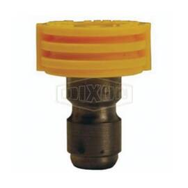 Dixon® Quick Connect Spray Nozzle, #4 Nozzle, 1/4 in Inlet, Straight Through Plug, 15 deg Spray Angle, Yellow, Domestic