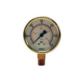 Dixon® Gauge, Standard Dual Scale Dry, 0 to 1500 psi/kPa, 1/4 in, 2-1/2 in Dial Diameter, +/- 3-2-3 % Accuracy, -40 to 140 deg F, Lower Mount, Brass Case, Polished