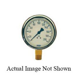 Dixon® Gauge, 0 to 5000 psi, 1/4 in, 2-1/2 in Dial Diameter, +/- 2-1-2 % Accuracy, Liquid Filled: Glycerin, -4 to 140 deg F, Lower Mount, Cast Brass Case