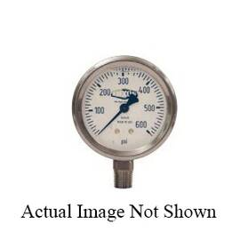 Dixon® Gauge, 0 to 400 psi, 1/4 in NPT, 2-1/2 in Dial Diameter, +/- 3-2-3 % Accuracy, Liquid Filled: Glycerin, -4 to 140 deg F, Lower Mount, Stainless Steel Case