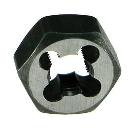 Drillco Hexagon Rethreading Die, Series: 3350E, Measurement System: Imperial, 5/16-18, UNC, 11/16 in Hex, Right Hand Thread, Carbon Steel, Bright